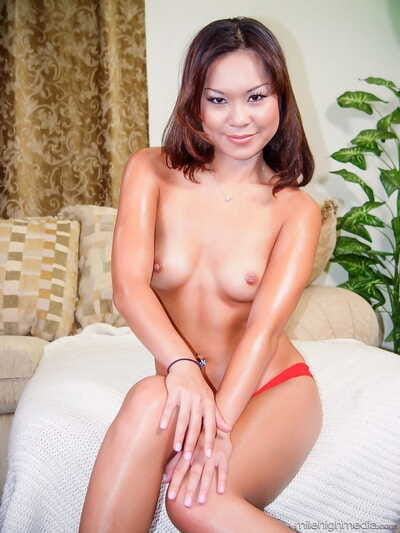 Chinese playgirl Kammy sucks a twosome of rods afterward a once in a time penetration