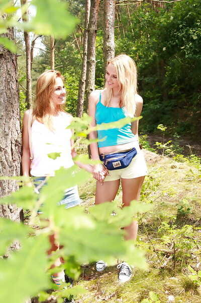 Outdoor girl-on-girl fucking action features extraordinary adolescent doll Kim G and her gf