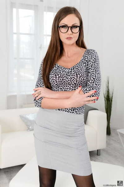 Tina Kay takes off glasses and short skirt sooner than getting two bonked