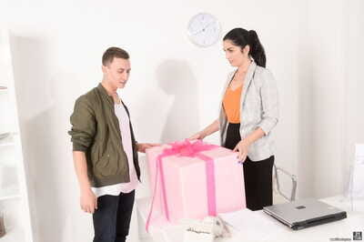 Brown hair female Loren Minardi purchases a prize and a DP on her birthday