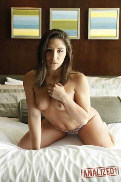 Gorgeous pornstar Abella Danger flaunts her a-hole and vulva in her bedroom