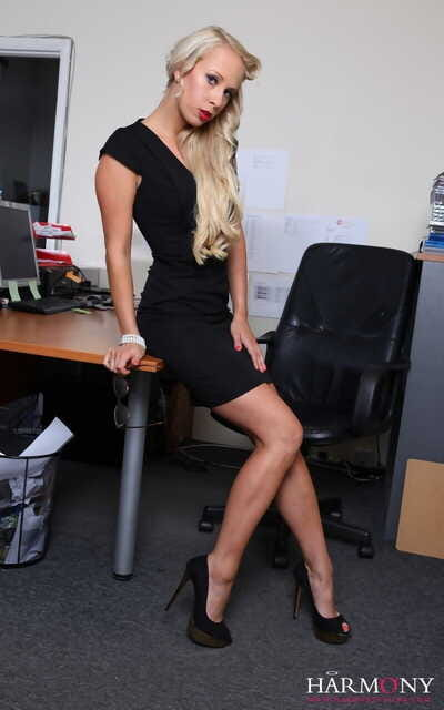 Golden-haired secretary Carla Cox gains fucked in group on Master of her office desk