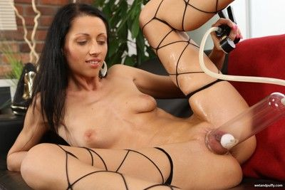 Horny babe toys the brush pussy and up to the arse in pellicle