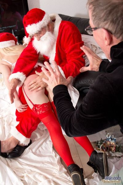 Christmas is for everyone good deeds and helping poor young girls like our blonde. Mr Nobel, Santas in sum helper, brings this innocent girl for an Oldje charity.But Santa knows better go off at a tangent she hasnt been an obedient, nice girl and he decid