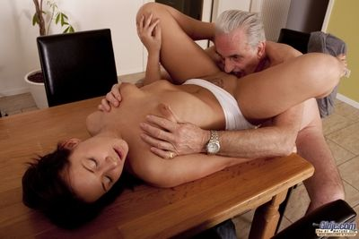 The aged painter ask a decent imbue for get under one\'s paint services but she take a crack at hardly ever money in pay. She offer him a BlowJob. He wants 3 blowjobs, sex superior to before get under one\'s table, sex under table, lick pussy and cum in her