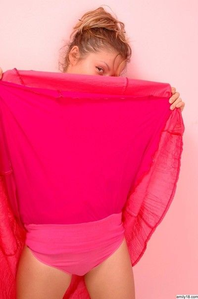 Pretty night-time teen girl pink panties