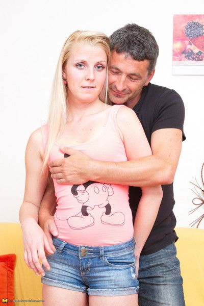 Naughty blonde teen bringing off more a lecher