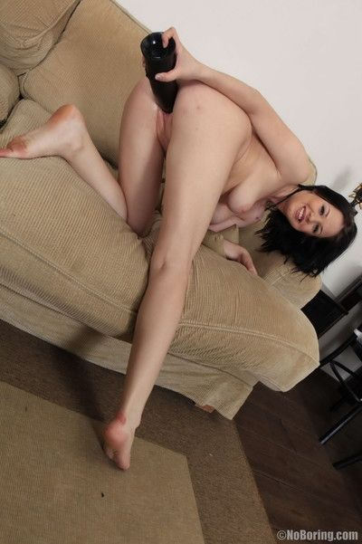 Hot slut stretching her tight pussy wider
