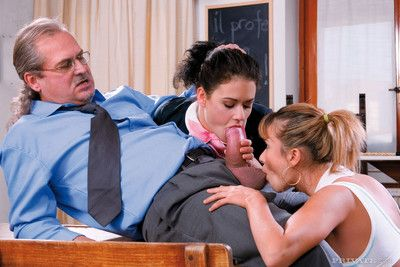 Two naughty schoolgirls love mature cock in all directions their tight ass