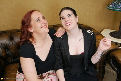 Old and young lesbian couple go cast work away at