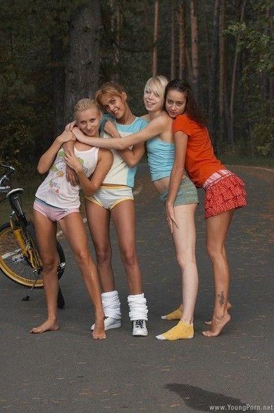 Teen drag queen girlfriends in alfresco public orgy