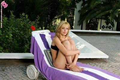Watch as bikini blonde fondles will not hear of wet pussy