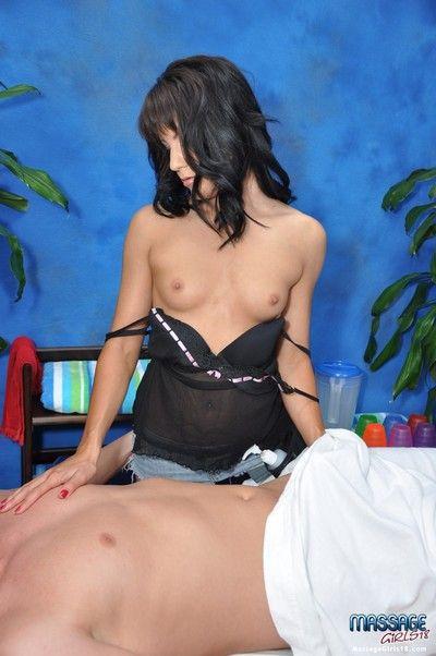 Unfortunate girl billie fucks her rub-down client enquire into a rub down