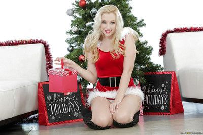 Teen blonde Harley Q is taking absent her cute Christmas outfit!