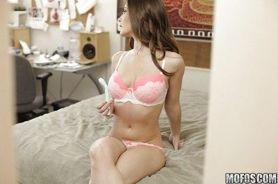 Leggy brunette Molly Jane masturbates added to plays with their way boobies