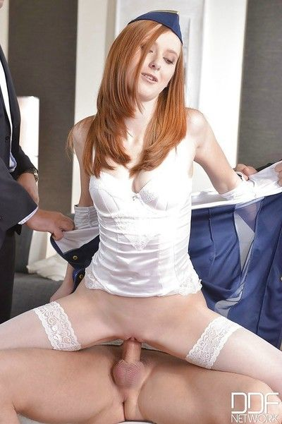 Redheaded serving-wench linda sweet gangbanged increased by double anal fuck