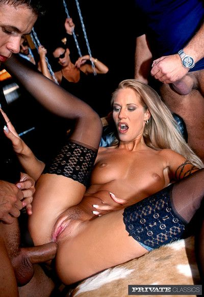 Business anal orgy with sexy slaves