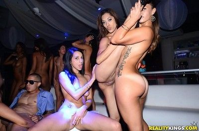 Horny latina anita toro fucked in public club orgy