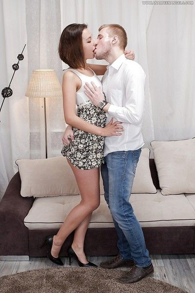 Skinny teen liona bee bends forsake for deep anal bonking and anal