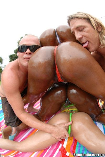 Oiled black asses gets raw fucked in dissolute orgy