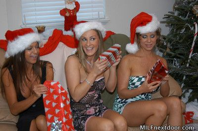 Milfs next entry-way licking primarily christmas party