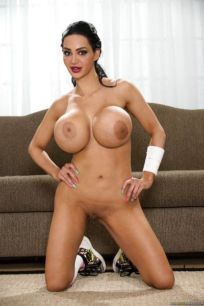 Incredible milf chick with big breast Amy Anderssen posing concerning socks